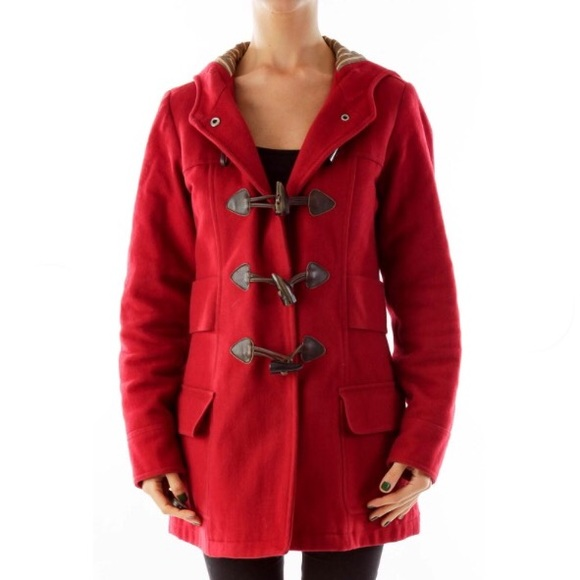 American Eagle Outfitters Jackets & Blazers - American Eagle red Toggle jacket Coat with hood